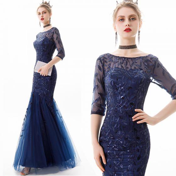 Piękne Granatowe Sukienki Wieczorowe 2019 Syrena / Rozkloszowane Wycięciem Cekiny Z Koronki Kwiat 3/4 Rękawy Bez Pleców Długie Sukienki Wizytowe