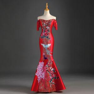 Chiński Styl Czerwone Sukienki Wieczorowe 2019 Syrena / Rozkloszowane Przy Ramieniu Kutas Cekiny Aplikacje Z Koronki Bez Rękawów Bez Pleców Długie Sukienki Wizytowe