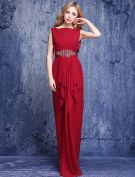 Elegant Burgundy Evening Dresses 2016 Square Neckline Beading Rhines Ruffled Chiffon Long Dress