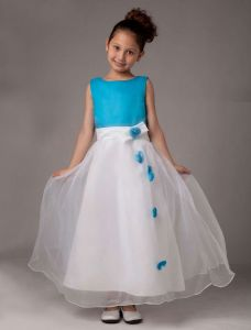 Sleeveless Flower Satin Organza Flower Girl Dress