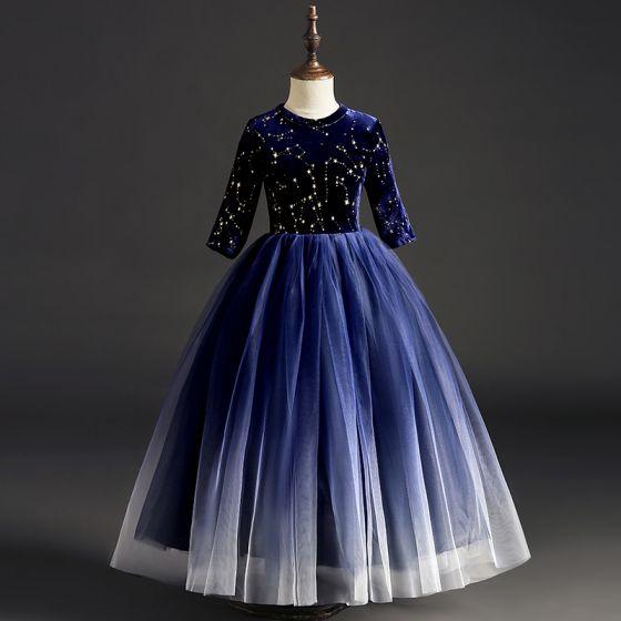Gwiaździste Niebo Granatowe Zamszowe Sukienki Dla Dziewczynek 2019 Suknia Balowa Wycięciem 1/2 Rękawy Cekinami Cekiny Długie Wzburzyć Sukienki Na Wesele