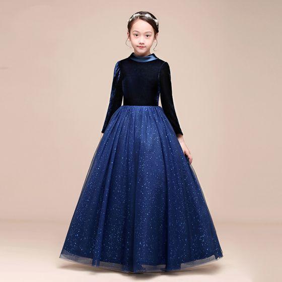 Starry Sky Navy Blue Velour Winter Birthday Flower Girl Dresses 2021 Ball Gown High Neck Long Sleeve Glitter Tulle Floor-Length / Long Ruffle