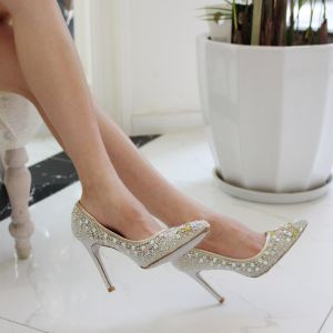 Chic / Beautiful White Wedding Shoes 2019 Leather Rhinestone Sequins 10 cm Stiletto Heels Pointed Toe Wedding Pumps
