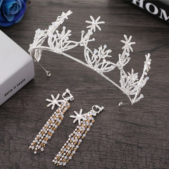 Sparkly Silver Bridal Jewelry 2018 Metal Pearl Crystal Rhinestone Beading Tiara Earrings Accessories