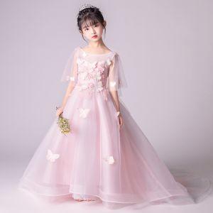Elegante Rosa Durchsichtige Blumenmädchenkleider 2019 A Linie Rundhalsausschnitt 1/2 Ärmel Schmetterling Applikationen Spitze Perle Lange Rüschen Rückenfreies Kleider Für Hochzeit