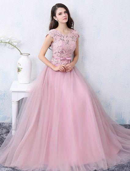Elegante Festkjoler 2016 Applikation Blonder Beading Perler Pink Tyl Lang Formel Kjole Med Bindebånd