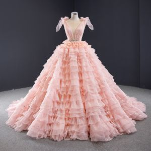 Luxury / Gorgeous Lovely Candy Pink Sequins Wedding Dresses 2020 Ball Gown Scoop Neck Sleeveless Backless Cascading Ruffles Chapel Train
