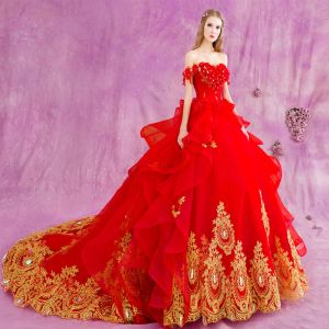 Chic / Beautiful Red Gold Cascading Ruffles Wedding Dresses 2018 Ball Gown Appliques Lace Crystal Off-The-Shoulder Backless Sleeveless Cathedral Train Wedding