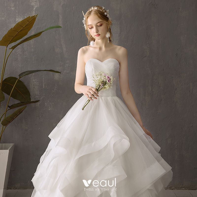 Simple Outdoor Wedding Ideas: Modest / Simple Ivory Outdoor / Garden Wedding Dresses