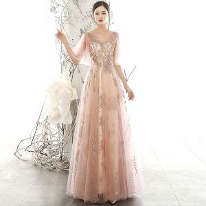 Hermoso Perla Rosada Transparentes Vestidos de noche 2020 A-Line / Princess V-Cuello Hinchado 1/2 Ærmer Glitter Apliques Lentejuelas Tul Largos Ruffle Sin Espalda Vestidos Formales
