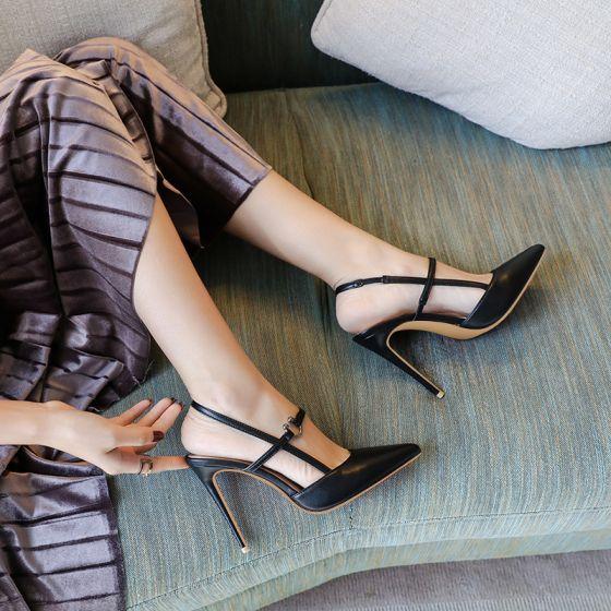 Sexig Svarta Gatukläder Sandaler Dam 2020 Ankelband 10 cm Stilettklackar Spetsiga Sandaler
