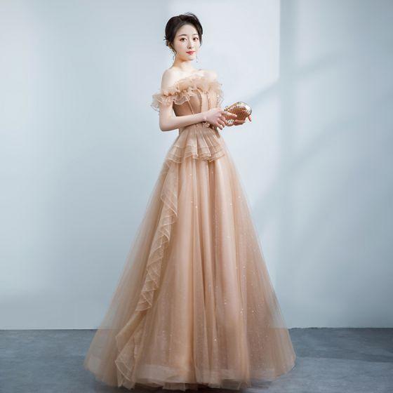 Elegancka Szampan Sukienki Na Bal 2021 Princessa Wzburzyć Przy Ramieniu Frezowanie Rhinestone Bez Rękawów Bez Pleców Długie Sukienki Wizytowe