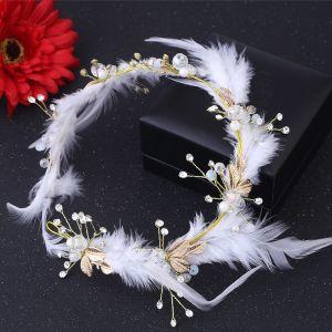 Bruids Haaraccessoires Bruidssieraden Mooie / Prachtige 2017 Witte Goud Veer Rhinestone Metaal Tiara