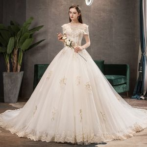 Elegant Champagne Wedding Dresses 2019 A-Line / Princess Off-The-Shoulder Pearl Sequins Lace Flower Short Sleeve Chapel Train