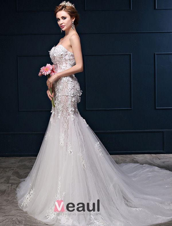 Sexy Meerjungfrau Schatz-ausschnitt-sleeveless Spitze Blumen Hinter Brautkleider