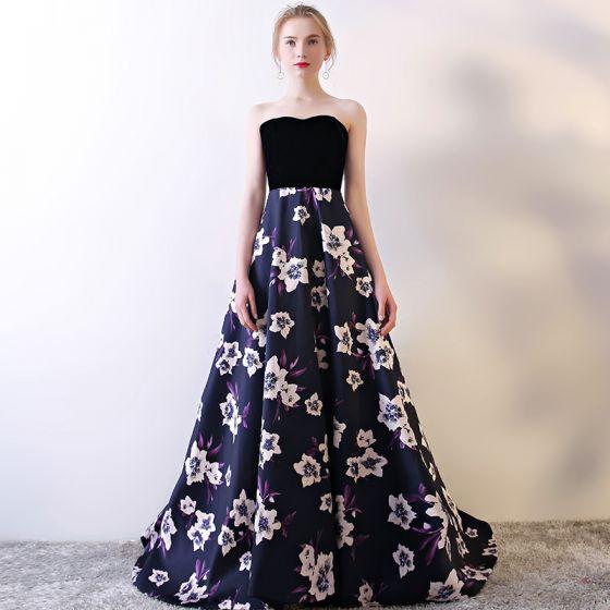 Fée Des Fleurs Violet Robe De Soirée 2017 Princesse Charmeuse Boucle Impression Bustier Soirée Robe De Ceremonie