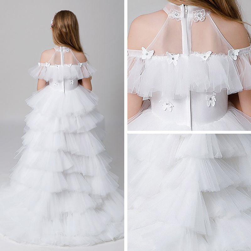 Classy Ivory See-through Flower Girl Dresses 2019 A-Line / Princess High Neck Short Sleeve Butterfly Appliques Lace Rhinestone Beading Asymmetrical Cascading Ruffles Wedding Party Dresses