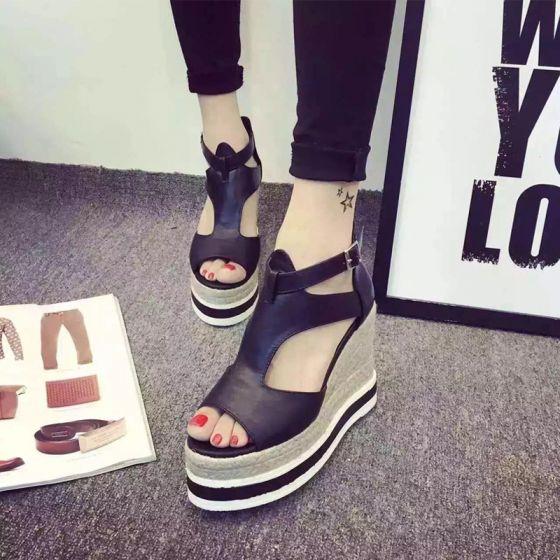 Mooie / Prachtige 2017 8 cm / 3 inch Zwarte Witte Toevallig Kunstleer Zomer Hoge Hakken Dikke Hak 8 cm Pumps Sandalen Peep Toe Sandalen Dames