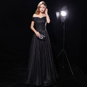 Starry Sky Black Evening Dresses  2019 A-Line / Princess Off-The-Shoulder Short Sleeve Sash Glitter Polyester Floor-Length / Long Ruffle Backless Formal Dresses