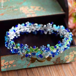Unieke Koninklijk Blauw Bruidssieraden 2017 Metaal Kralen Kristal Rhinestone Haaraccessoires Huwelijk Gala Accessoires