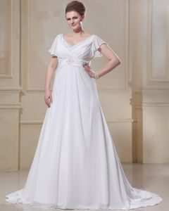 Chiffon Ruffle Beaded V Neck Plus Size Bridal Gown Wedding Dresses