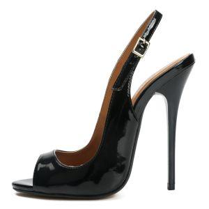 Sexy Svart Fest Patent Lær Sandaler Dame 2021 Hælrem 13 cm Stiletthæler Peep Toe Sandaler