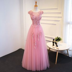 Chic / Beautiful Candy Pink Prom Dresses 2018 A-Line / Princess Lace Appliques Sequins Scoop Neck Backless Sleeveless Floor-Length / Long Formal Dresses