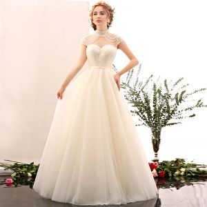 Amazing / Unique Champagne Wedding 2017 A-Line / Princess Organza High Neck Heart-shaped Backless Beading Wedding Dresses
