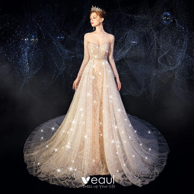 Trumpet Wedding Dresses 2019: High-end Champagne Wedding Dresses 2019 Trumpet / Mermaid