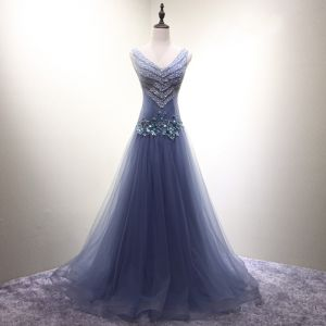 Schöne Himmelblau Abendkleider 2017 A Linie V-Ausschnitt Organza Pailletten Applikationen Rückenfreies Abend Festliche Kleider