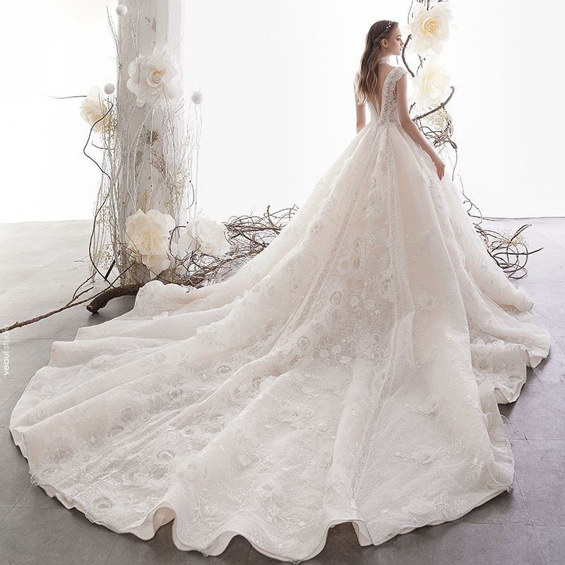 High-end Champagne Wedding Dresses 2019 A-Line / Princess V-Neck Sleeveless Backless Appliques Lace Beading Glitter Tulle Chapel Train Ruffle