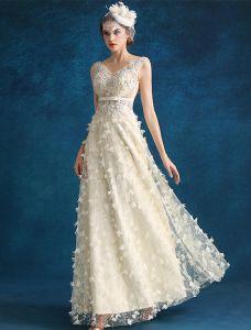 Sukienki Wieczorowe 2016 Piękne Kwiaty Cekiny Bez Pleców Szampana Tiulowa Suknie Wieczorowe Z Szarfą