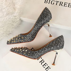 Chic / Beautiful Silver Evening Party Pumps 2019 Rivet Sequins 9 cm Stiletto Heels Pointed Toe Pumps