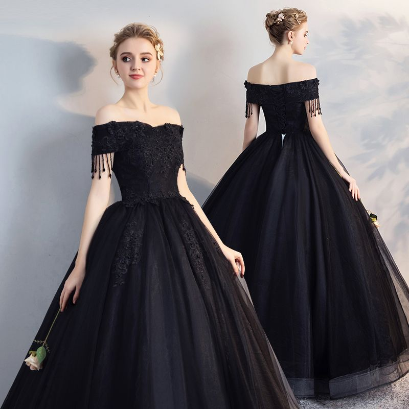 Affordable Black Puffy Quinceañera Prom Dresses 2018 Ball Gown Lace Flower Beading Pearl Tassel Off-The-Shoulder Backless Short Sleeve Floor-Length / Long Formal Dresses