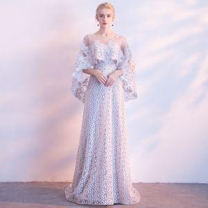 Schöne Grau Abendkleider 2018 A Linie Spitze Bandeau Applikationen Rückenfreies Perlenstickerei Abend Festliche Kleider