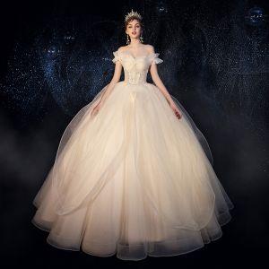 Elegant Ivory Outdoor / Garden Wedding Dresses 2019 Princess Off-The-Shoulder Short Sleeve Backless Sequins Beading Floor-Length / Long Ruffle