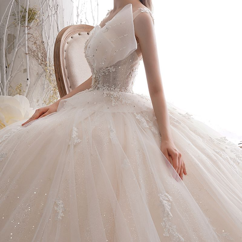 Luxury / Gorgeous Champagne Wedding Dresses 2019 Ball Gown Deep V-Neck Sleeveless Backless Sequins Beading Appliques Lace Glitter Tulle Chapel Train Ruffle