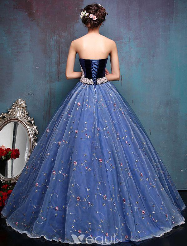 Elegante Galajurken 2016 Lieverd Kralen Parel Sjerp Geborduurde Blauwe Organza Galajurk