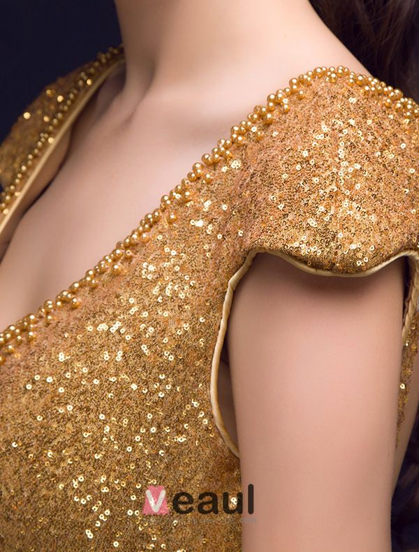 Sparkly Mermaid Deep V-neck Backless Gold Sequin Long Evening Dress