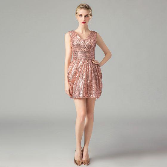 Glitzernden Rose Gold Pailletten Partykleider 2021 A Linie V-Ausschnitt Ärmellos Kurze Rüschen Rückenfreies Festliche Kleider