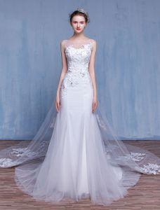 Bezaubernde Meerjungfrau Hochzeitskleider 2017 Quadratische Ausschnitt Appliquet Spitze Die Rhinestones Brautkleider Mit 100 Cm Zug Bördelt