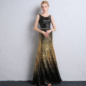 Sparkly Black Gold Sequins Evening Dresses  2018 Trumpet / Mermaid Scoop Neck Sleeveless Metal Sash Floor-Length / Long Backless Formal Dresses