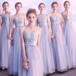Affordable Grey See-through Bridesmaid Dresses 2018 A-Line / Princess Appliques Lace Sash Ankle Length Ruffle Backless Wedding Party Dresses