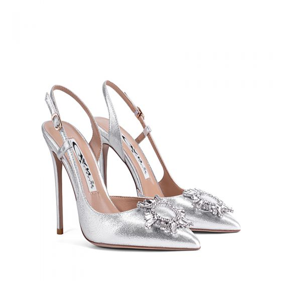 Charming Silver Evening Party Womens Sandals 2020 Ankle Strap Rhinestone 10 cm Stiletto Heels Pointed Toe Sandals