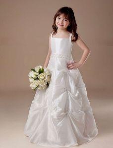 Weißes Ärmelloses Ballkleid Satin Blumenmädchen Kleid Kommunionkleider