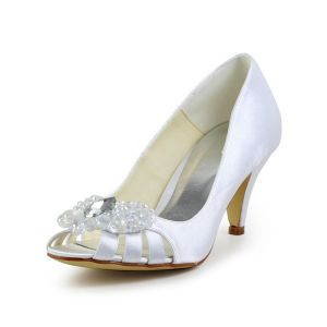 Beautiful Peep Pierced Toe Mid Heels White Satin Pumps Bridal Wedding Shoes With Heart-shaped Crystal Rhinestone