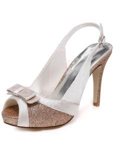 Prickelnde Hochzeitsschuhe Slingbacks Sandalen High Heel Brautschuhe Stilettos