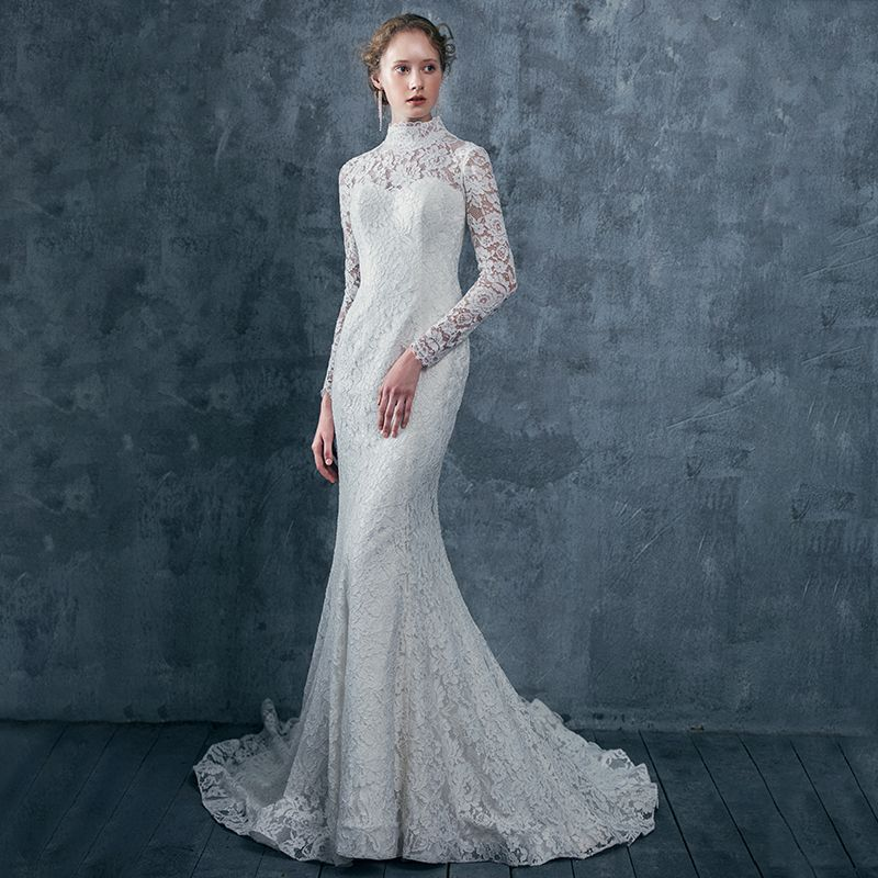 Vintage Ivory Lace Wedding Dresses 2017 Trumpet / Mermaid High Neck Long Sleeve Backless Lace Up Court Train