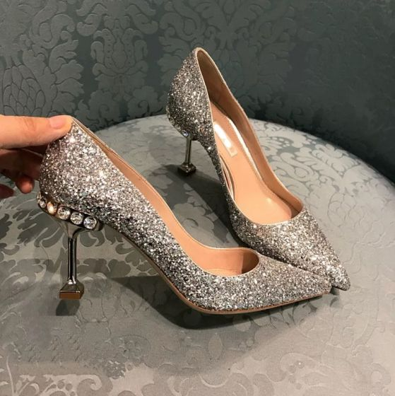 Sparkly Silver Wedding Shoes 2019 Leather Rhinestone Sequins 8 cm Stiletto Heels Pointed Toe Wedding Pumps