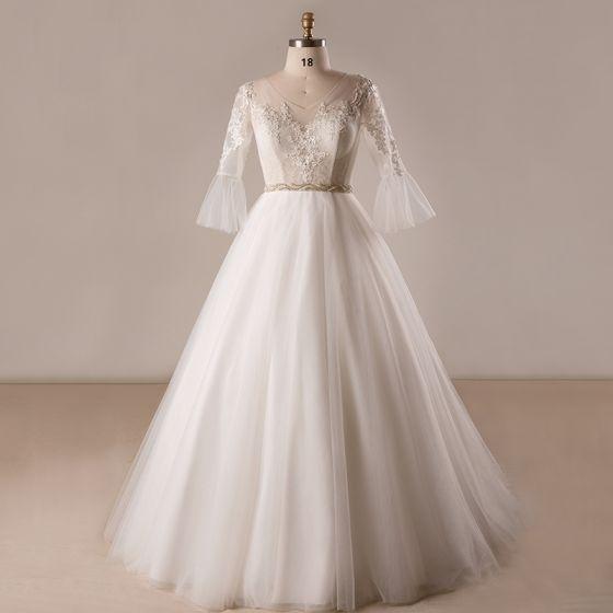 Amazing / Unique White Wedding Dresses 2017 A-Line / Princess V-Neck Tulle Lace Beading Appliques Backless Wedding